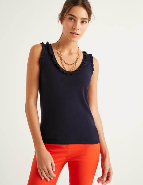 Chichester Frill Knitted Vest - Navy