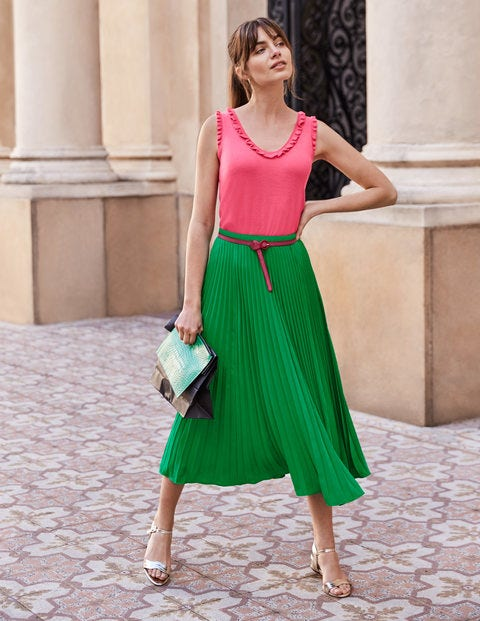 Chicester Frill Knitted Tank - Bright Camellia