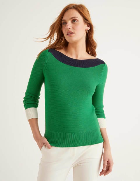Pembroke Textured Jumper - Rich Emerald Colourblock