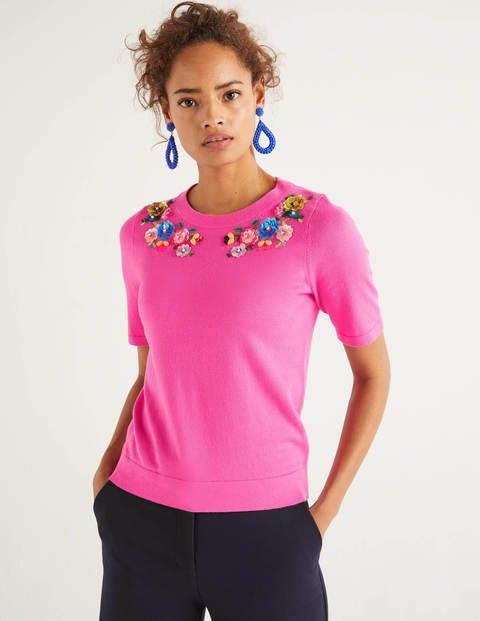 Gowrie Verziertes T-Shirt - Knalliges Stiefmütterchen