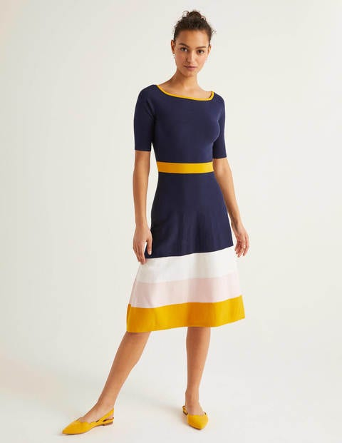 Jemima Stripe Knitted Dress - Navy