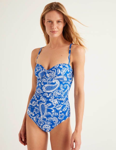 Ischia Bandeau Swimsuit - Bold Blue, Spotty Paisley