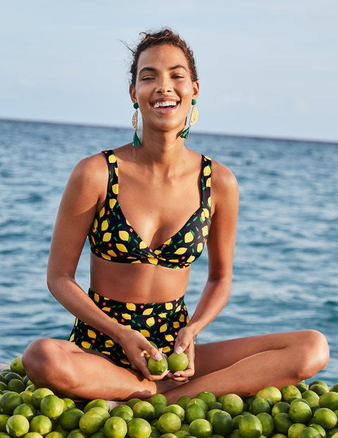Talamanca Bikini Top - Navy, Lemon Fruit