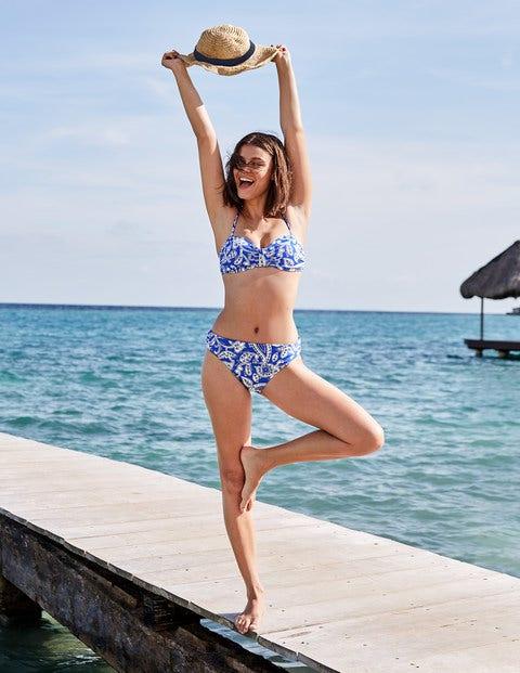Ischia Bandeau Bikini Top - Bold Blue, Spotty