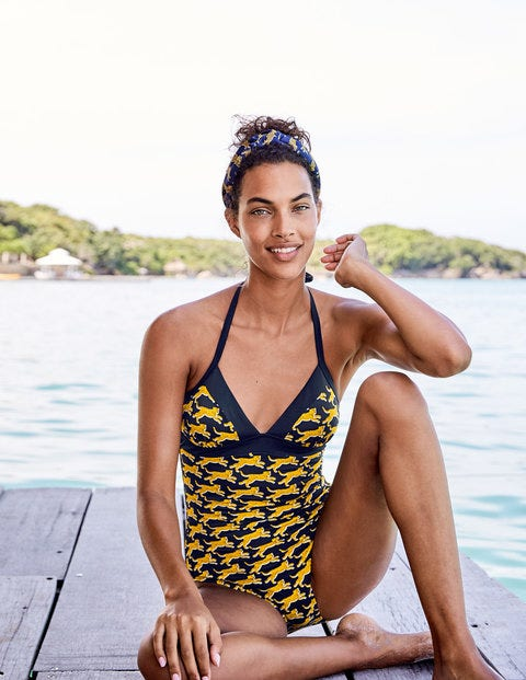 Hotchpotch Swimsuit - Navy, Spotted Cheetah
