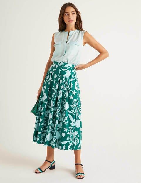 Theodora Pleated Skirt - Forest, Garden Charm