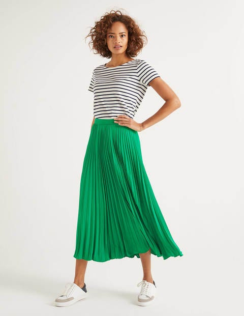 Kristen Pleated Skirt - Rich Emerald