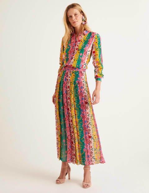 Bathsheba Pleated Midi Skirt - Bright Camellia, Garden Charm