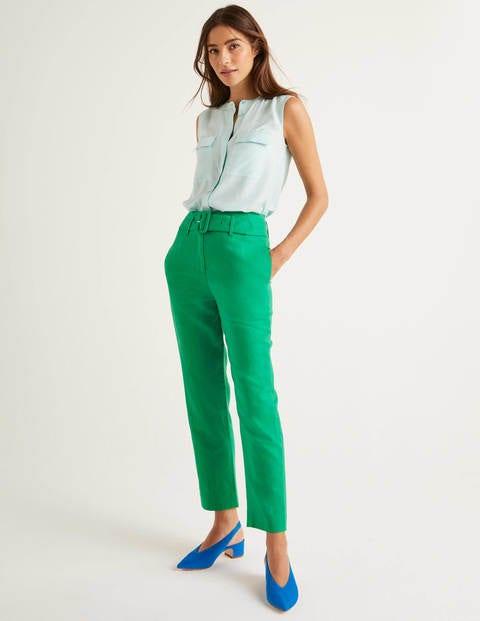 Holkham Belted Pants - Rich Emerald
