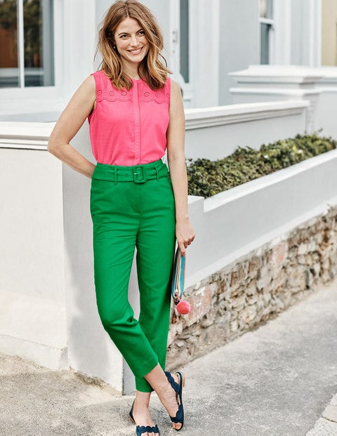Holkham Belted Pants - Rich Emerald