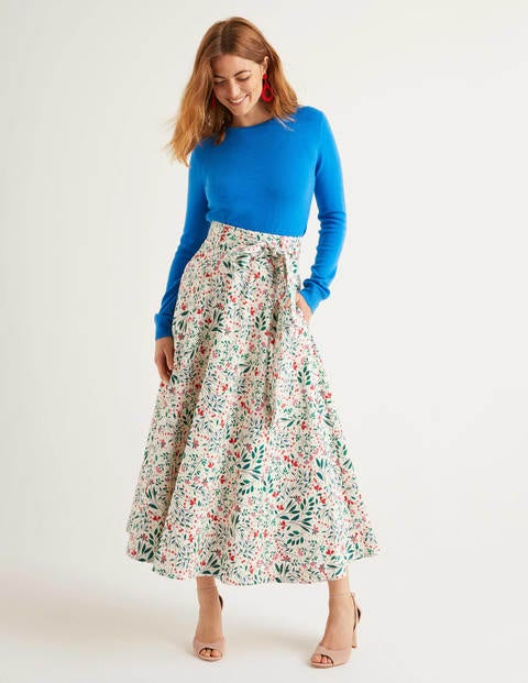Brooke Belted Skirt - Ivory, Garden Party