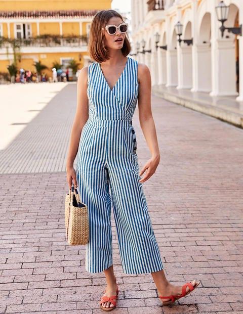Dorothea Wrap Jumpsuit - Bold Blue Ivory Stripe