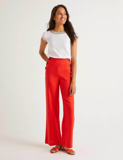 Falmouth Linen Trousers - Orange Sunset