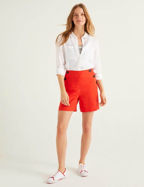 Falmouth Linen Shorts - Orange Sunset