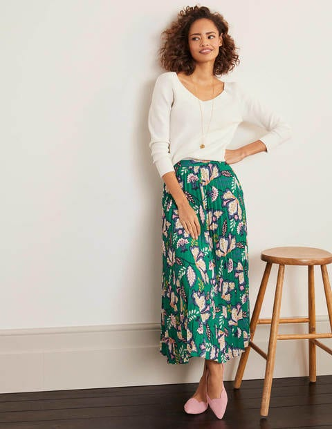 Fairfax Pleated Skirt - Rich Emerald, Jungle Bloom