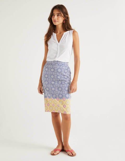 Gabriella Pencil Skirt - Blue, Sun Tile