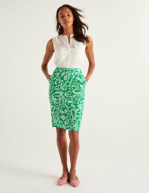 Gabriella Pencil Skirt - Rich Emerald, Spotty Paisley