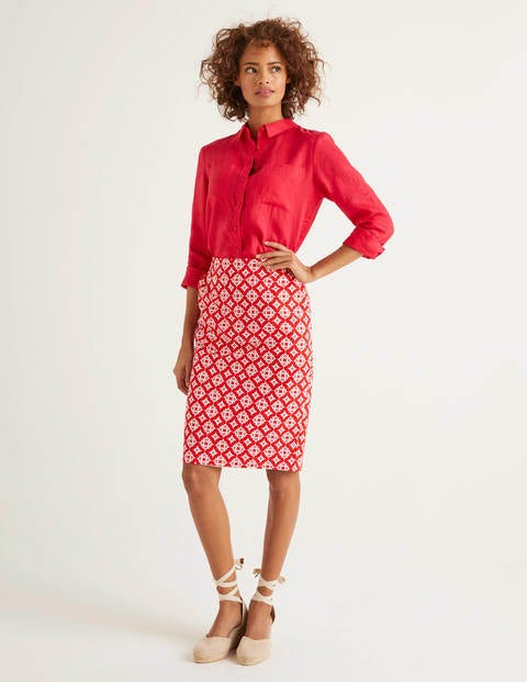 Gabriella Pencil Skirt - Post Box Red, Diamond Drop