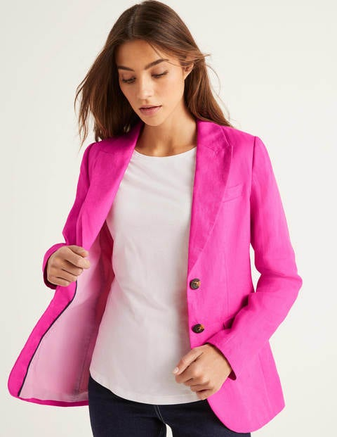 Carrington Linen Blazer - Pop Pansy