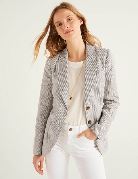 Carrington Linen Blazer - Ticking Stripe