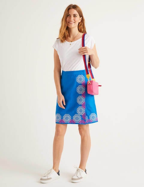 Anville Embroidered Wrap Skirt - Bold Blue
