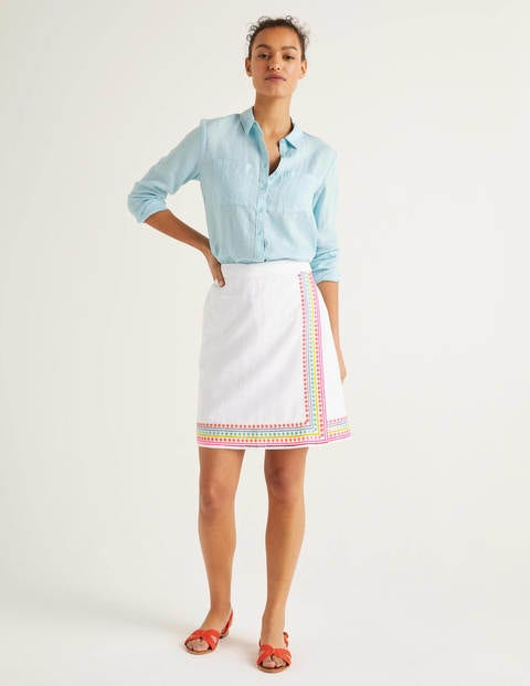 Anville Embroidered Wrap Skirt