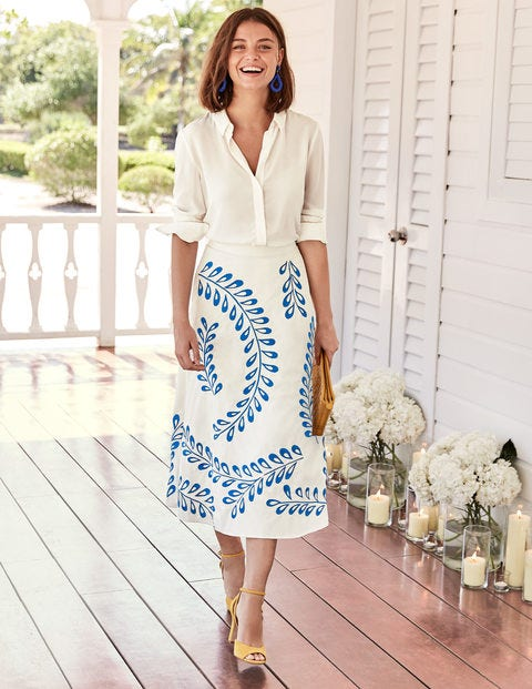 Arwen Embroidered Midi Skirt - Ivory