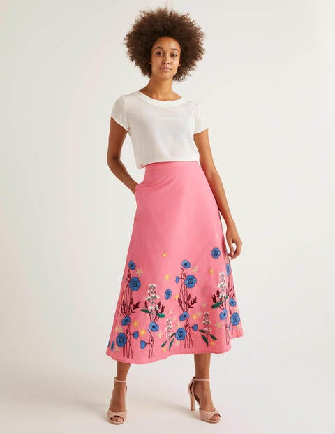 Arwen Embroidered Midi Skirt - Bright Camellia