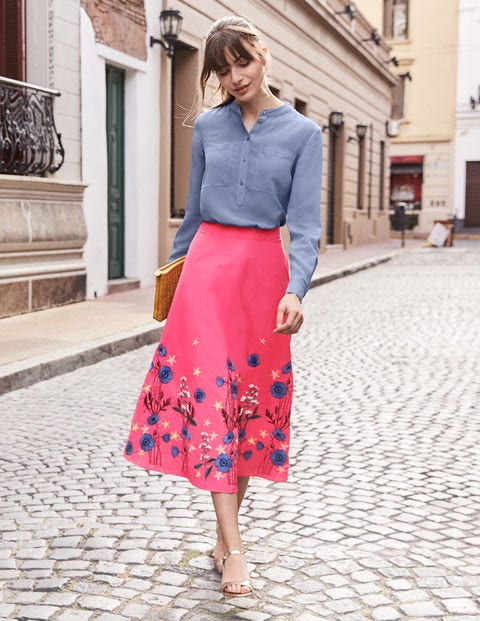 Arwen Embroidered Midi Skirt - Bright Camellia