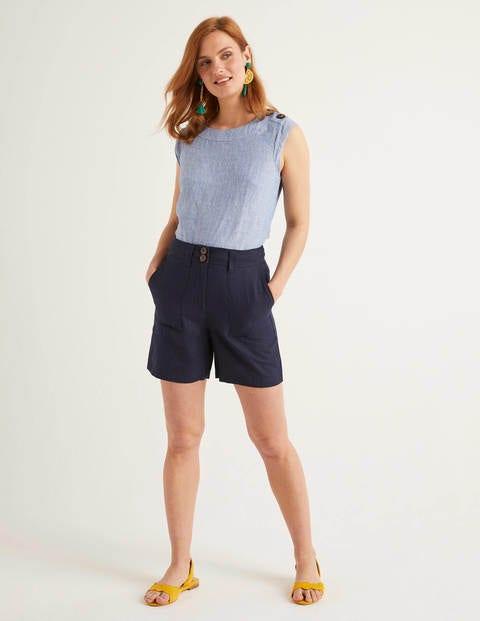 Filey Seamed Pocket Shorts - Navy