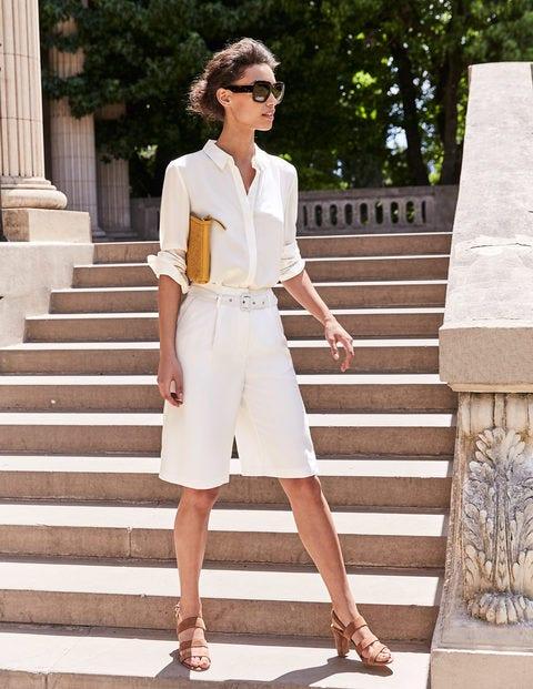 Hampton Belted Shorts - Ivory