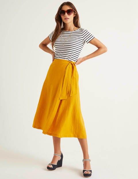 Radlett Linen Wrap Skirt - Tuscan Sun