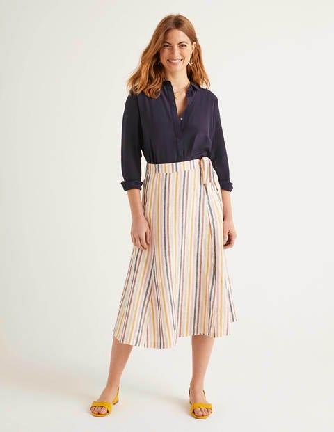 Radlett Linen Wrap Skirt - Tuscan Sun Stripe