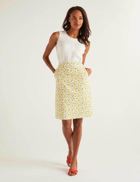 Francesca A-line Skirt - Ivory, Lemon Fruit