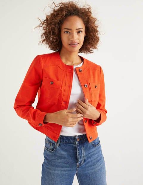 Paget Textured Crop Jacket - Orange Sunset
