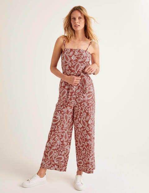 Colette Leinen-Jumpsuit - Rot, Paisley-Muster