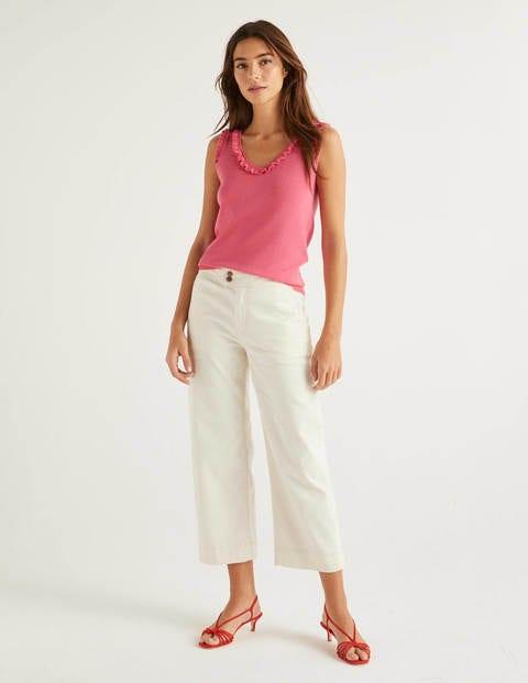 Wide Leg Crop Jeans - Ecru