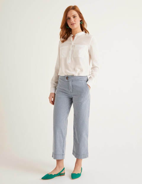 Wide Leg Crop Jeans - Ticking Stripe