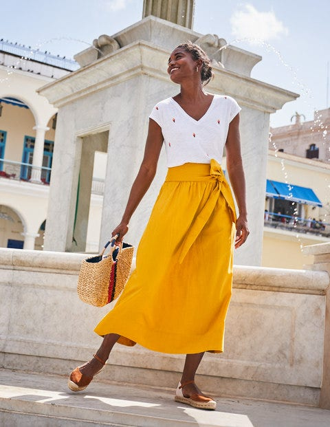 Demelza Midi Skirt - Tuscan Sun