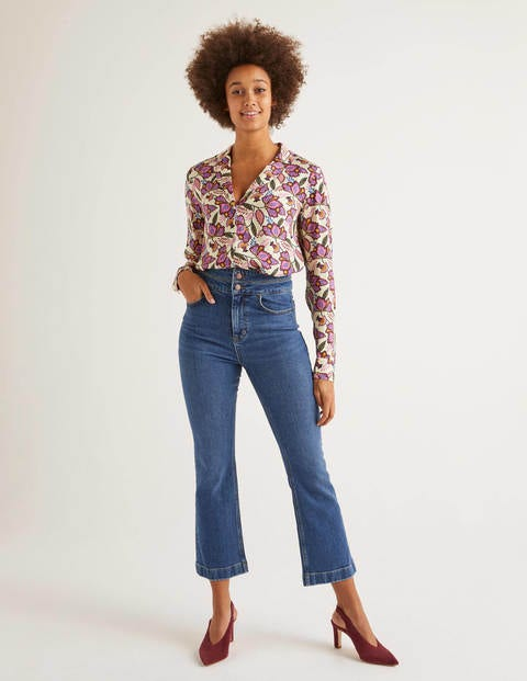 Double Waistband Flare Jeans - Mid Vintage