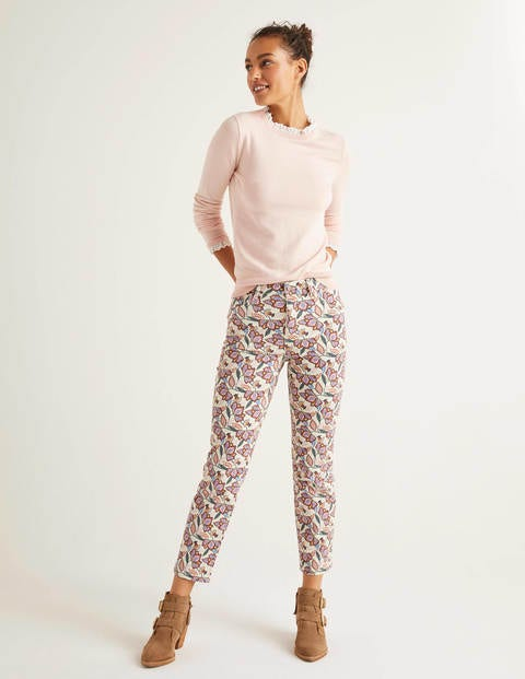 Printed Straight Jeans - Ivory and Rouge, Jungle Bloom