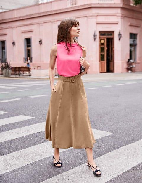 Poste Belted Midi Skirt - Camel