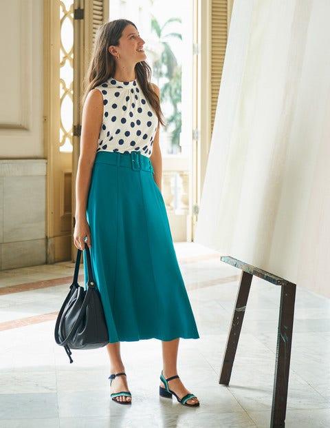 Poste Belted Midi Skirt - Vibrant Teal