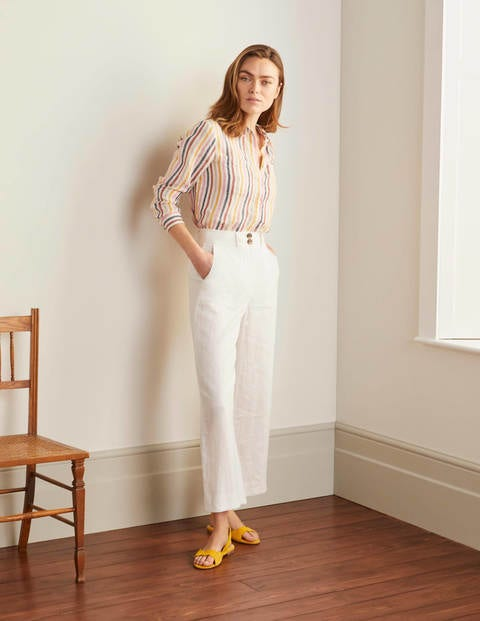 Linen Shirt - Tuscan Sun, French Navy Stripe