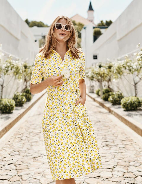 Anastasia Shirt Dress - Ivory, Lemon Fruit