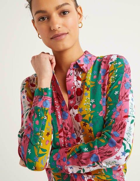 The Silk Shirt - Bright Camellia, Garden Charm
