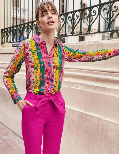 The Silk Shirt - Bright Camellia, Garden Charm