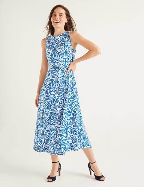 Clarissa Midi Dress - Bold Blue, Fern Swirl