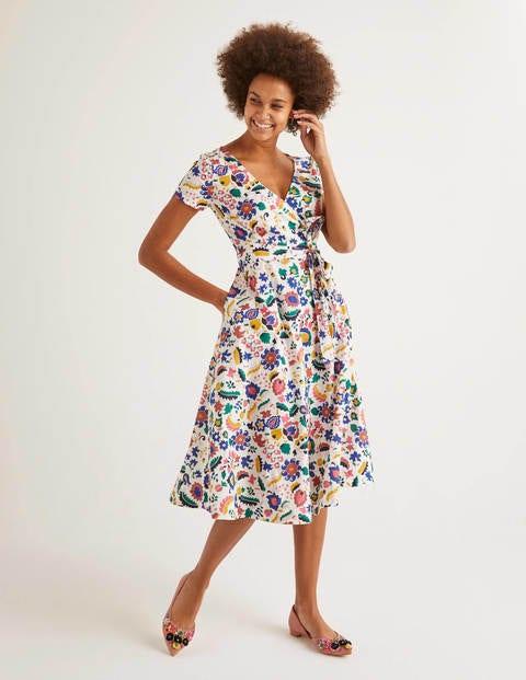 Olive Wrap Dress - Ivory, Tropical Retreat