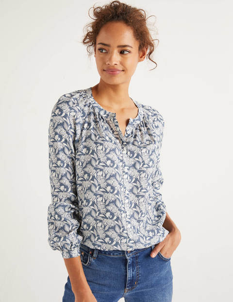 Blouse Naomi - Marin, motif Jungle Bloom